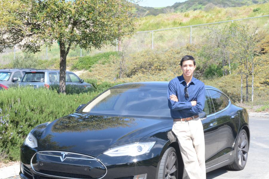 Senior Jonathan Tawil sports his 2014 Tesla Model S P85D in one of SJHHS' parking lots. This is just one of the many superb vehicles that SJHHS students possess with other high quality cars tearing up the roads as well.