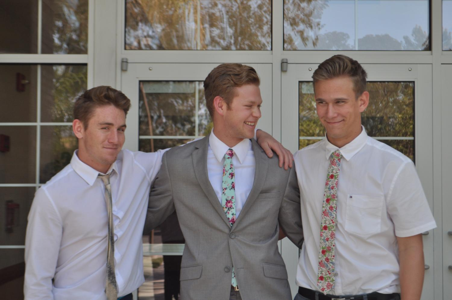 From left to right,  Cameron Buchanan, Adam Wright, and Cayden McCluskey. Pictured here in their Sunday best after church, these three SJHHS Mormon students will be joining some of their fellow students as they embark on their two year mission.