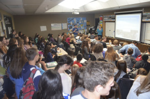 Students anxious to sign up for the popular Link Crew program gathered in Mr. Schrieber's old classroom, D03, last spring for a chance to help the incoming Freshman class get oriented. Other advisers include Mrs. Stenga and Klingbeil.