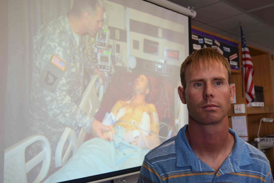 Seth Reimers, former Platoon Leader of the United States Army, visits English II Accelerated classes to share his stories. Students will later use inspiration from Reimers to write a narrative story, telling about their experiences away at war.