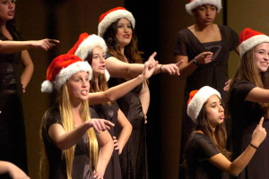 From left to right, Bridget Gorman, Kelsey Hampson, Jennifer Ramos, Alontra Arcos, and Rorinne Townsend, perform their rendition of