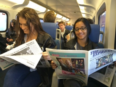 News editor Macy Drew and Publicity Editor Chetana Piravi enjoy a relaxing commute on the Coaster to the JEA/NSPA National Convention on Friday, April 11. The Newspaper was ranked #10 for a paper its size.
