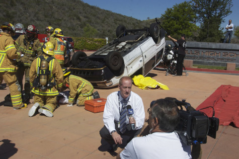A reporter from CNC reports on the mock crash that took place at SJHHS for the Every 15 Minutes program.