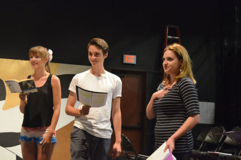 """PRACTICE MAKES PERFECT: (From left to right) Amanda Rooker (10), Benjamin Rutkowski (12) and Madeline Blomdahl (12) are rehearsing for their play """"The Crucible"""" in the Black Box Theater."""