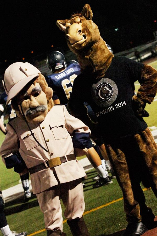 Mascots+Stanley+the+Stallion+and+26th+United+States+President+Teddy+Roosevelt+attend+the+SJHHS+varsity+football+game+against+Beckman+High+School.%0A