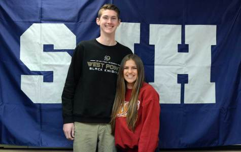SIGNED SPORTY SCHOLARS: Vincent McFadden (12) and Emily Steil (12), fellow athletes, are ecstatic after the sign with colleges for sports. Vincent will be attending West Point University and Steil will be attending Iowa State University for soccer. Photo By Chetana Piravi