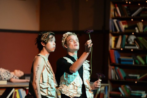 RISE OF THE FLOWER: Nick Welter (12) and Kenley Farace (12) perform on stage for A Midsummer's Night Dream- By William Shakespeare. The piece is about the DUke of Athens,  Theseus, and Hippolyta. Photo by Macy Drew