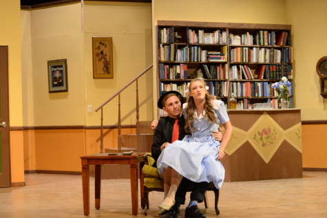 """Jaegar Cohen (12), Randolph,  pulls Amanda Rooker (11), Jenny, onto his lap as she wonders who the antagonist is in """"Exit the Body."""