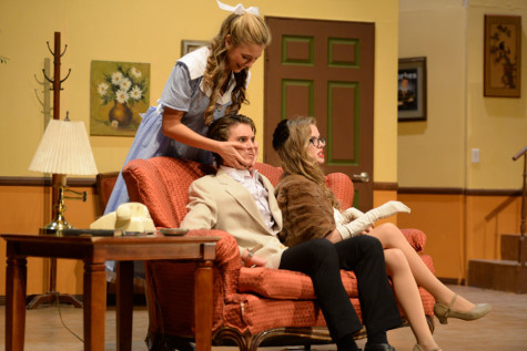 Jenny, portrayed by Amanda Rooker (11), fawns over Lyle, Christian Waizinger (10), grabbing his face with naive admiration. This offends his wife, Lillian, played by Gabrielle Heckler (12).
