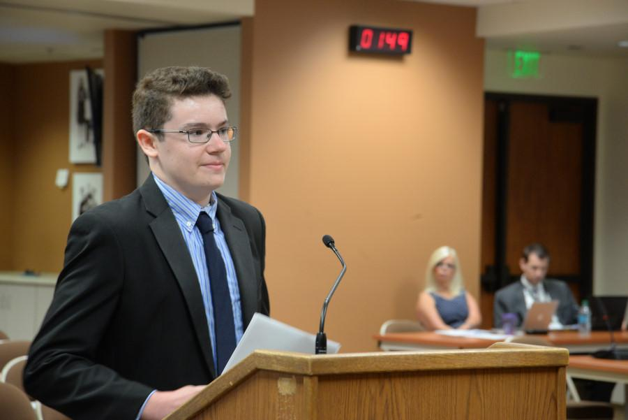 Junior Daniel Goodin proposes a solar panel idea to the Capistrano Unified School District Board of Trustees. EAT Club had previously gotten an online petition signed, headed by President Russell Tran,  to install solar panels at schools across the district.