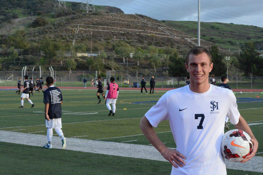 Jack Monach, midfielder on the SJHHS Varsity soccer team, poses before a soccer match with opposing team from San Clemente.