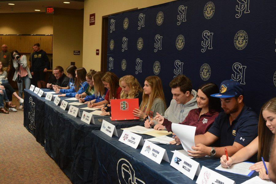 SJHHS had 13 athletes eagerly sign letters of intent on National Signing Day on February 1st, introduced by Athletic Director Armando Gonzalez.