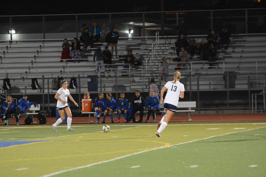 The Stallions girls soccer team have no problem working together and communicating effectively, as shown by the passing and teamwork between Lexi Ortiz and Mari DeStefani.
