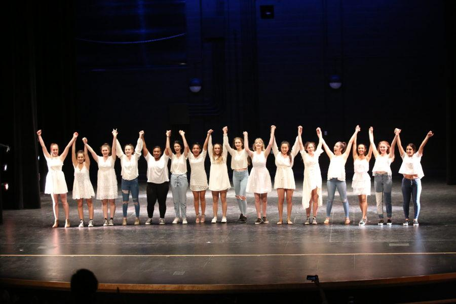 All of the senior dancers taking their final bow at the Senior Showcase, where they performed old and new routines.