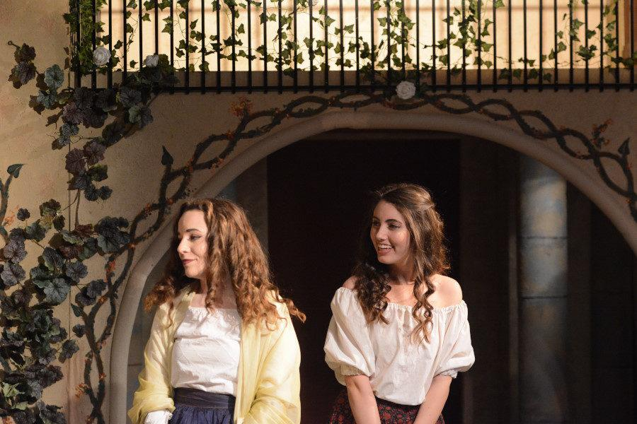 Hailey DePoto (12) and Becca Bogdonavic (12)  star as cousins in the romance mystery Much Ado About Nothing. The Shakespearan language of the play challenged the Actors' Repertory class, but they smoothly and gracefully portrayed the characters to the audience of the Black Box Theater.