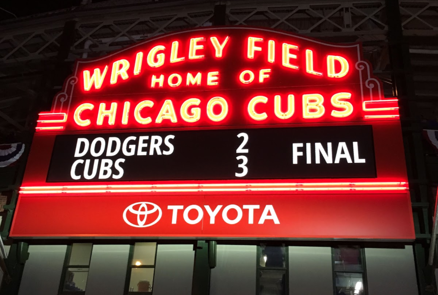 When playing the Los Angeles Dodger, the Chicago Cubs won the fourth playoff game 3-2. This win saved them from being eliminated from a chance at playing in the World Series. The fans at Wrigley Field were elated.