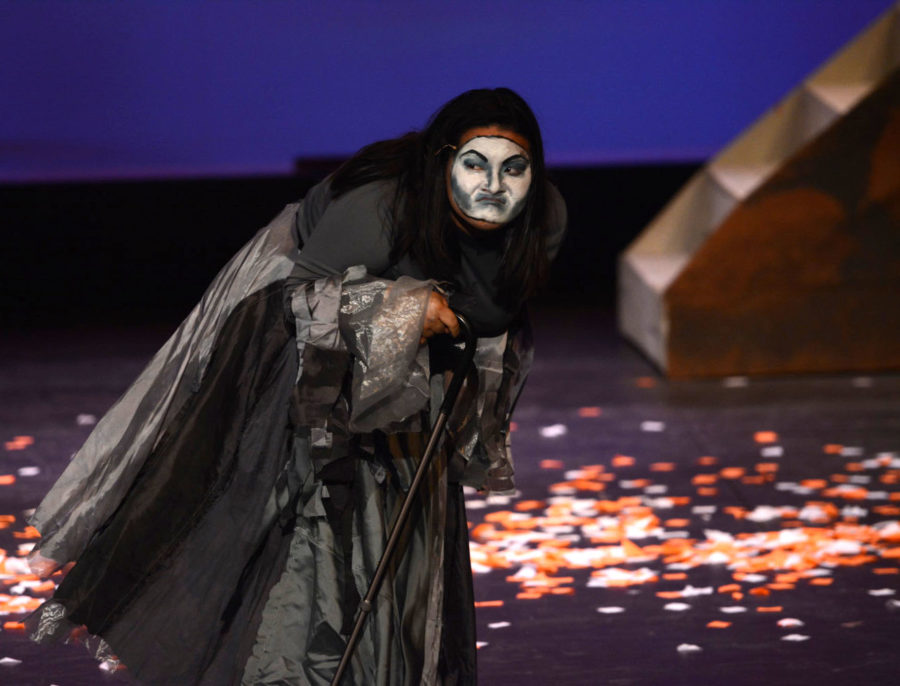Creonta, the evil witch played by Brianna Diioro (10), snarls as her precious oranges are stolen from her by Truffaldino and Tartaglio. They are taken in the interest of love, and she has no defenses against it.