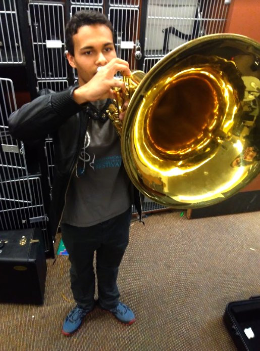 Vincent Maldonado (12) practices the marching band version  of the euphonium in-between practices. Maldonado also plays the concert euphonium, but prefers the marching version for Drum Corps due to it being easier to carry.