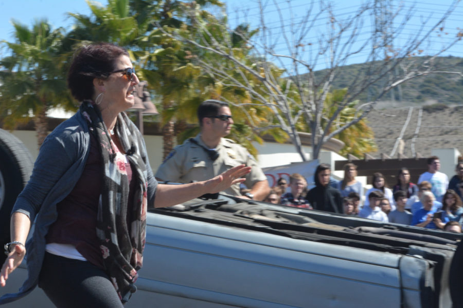 A volunteer, who played Stephen's mom, arrives at the scene of the car crash. She rushes to her son's paralyzed body, trapped in vehicle #1, screaming with horror after seeing his broken collar bone and femur.