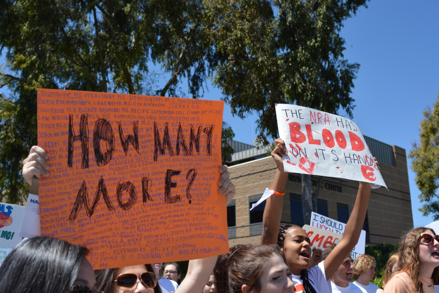 Students gather in Irvine California to participate in the national student walkout. Those involved in the rally promoted reform to gun legislation in the United States.