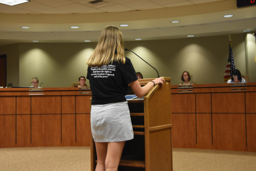 Riley Goodfellow (10), speaks at the CUSD board meeting on September 12 to voice concerns about board policies relating to publications. Her shirt contains a clause from Education Code 48907, California's law protecting student speech from censorship and prior review by school officials.