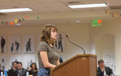 Lucy Law (12) speaks at the CUSD board meeting on Wednesday, November 14 to discuss ways they can improve sexual education in schools throughout Capistrano Unified School District.