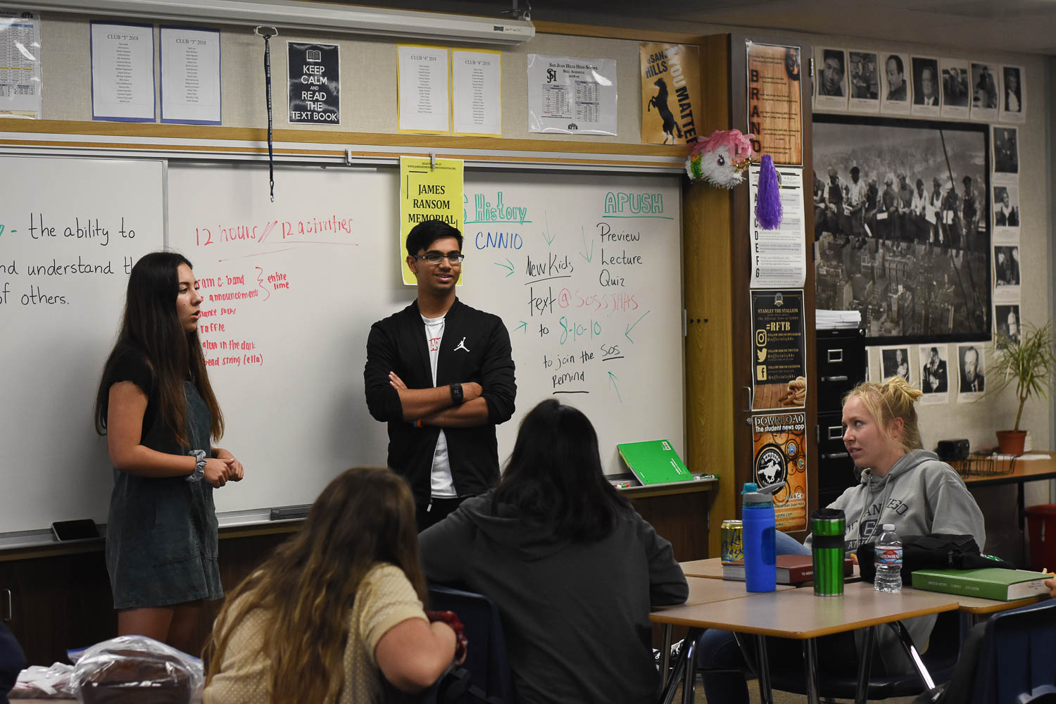 Vice president, Ajay Bhatia, along with Co-President, Kiley Espinera, discusses future plans with the FPS club. They talk about the 12 hour run they will be hosting and who wants to volunteer. The club meets every Tuesday in room H205.