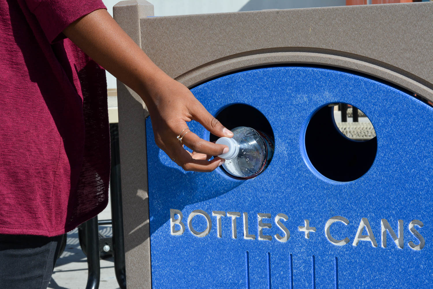 Even though students are encouraged to recycle their water bottles and cans, since China is no longer accepting plastic from the West, the better option is to start using a mental, reusable bottle to store your water. The plastic is sent to a landfill anyway, so there is no profit when one recycles a used bottle.