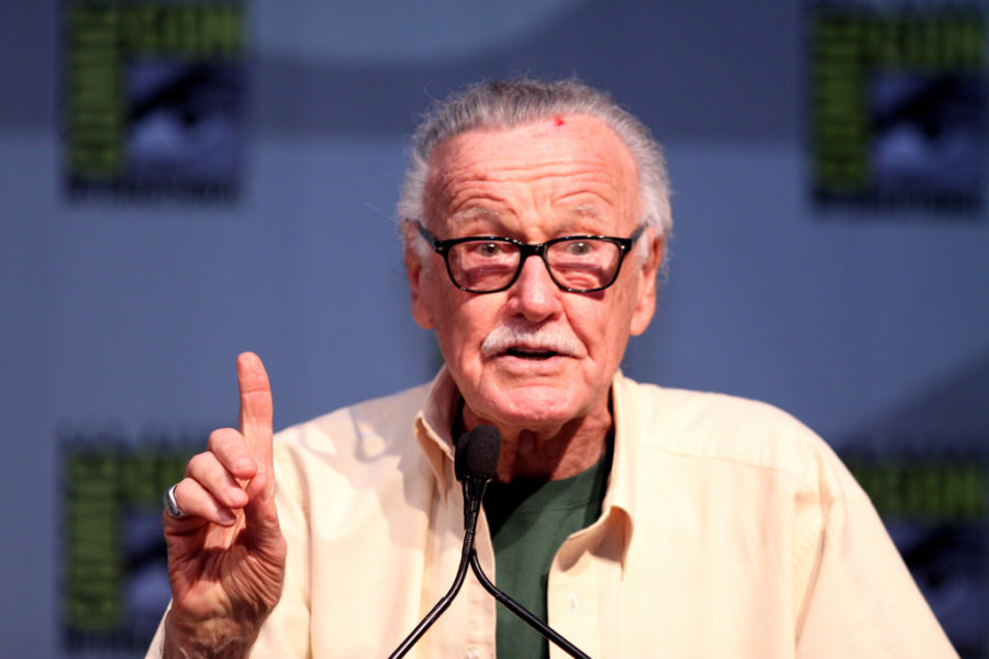 Stan+Lee%2C+seen+at+San+Diego+Comic+Con%2C+talking+to+a+crowd+of+fans+at+a+Q%26A+session.