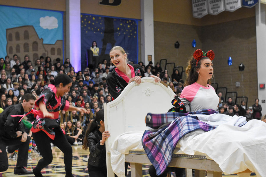 Sarah Hansen (10) pushes her dance partner into the front as she wakes up from her vivid dream.