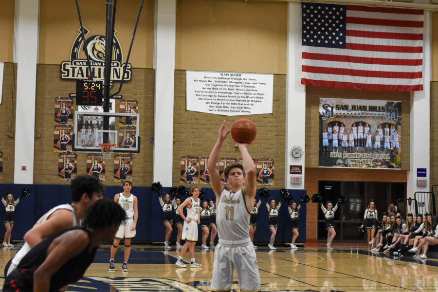 Cooper+Kitaen+%2811%29+scores+a+free+throw+shot+on+Monday%2C+January+14th+at+the+first+SJH+home+leaugue+basketball+game+against+Tesoro.+The+stallions+lost+the+game.+However%2C+the+boys+persevered+through+the+rest+of+their+season+with+determination