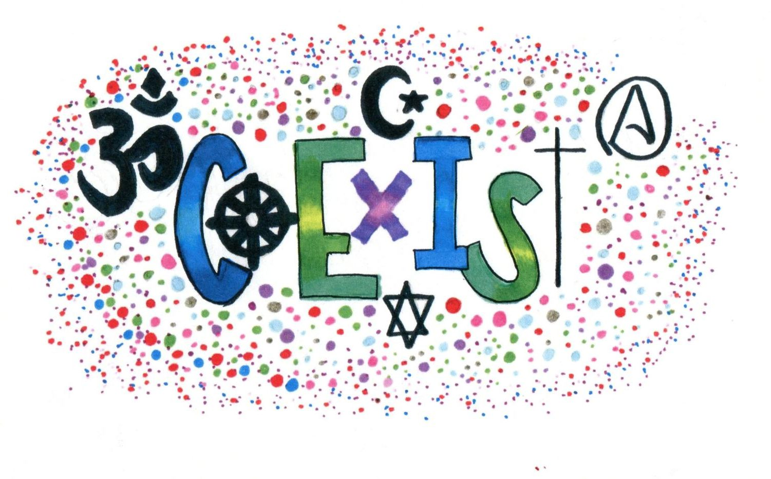 Coexist is a popular word to connect religions in unity and communicate that different beliefs can live side by side in peace.
