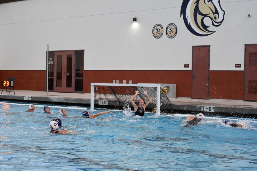 Kimora Farry (11) takes a shot on the goalie from Hillcrest during the lady Stallions' second round CIF game. The girls won 12-4.