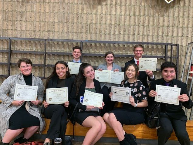 Out of 20 attendees, 8 SJHHS students won awards. Top row (from left to right): Jaden Bryan, Emma Dart, and Matthew Monsoor. Bottom row (from left to right): Luciana Benzan, Solei Sarmiento, Grace Dennen, Tara Goldhammer and Bonny Jimenez.