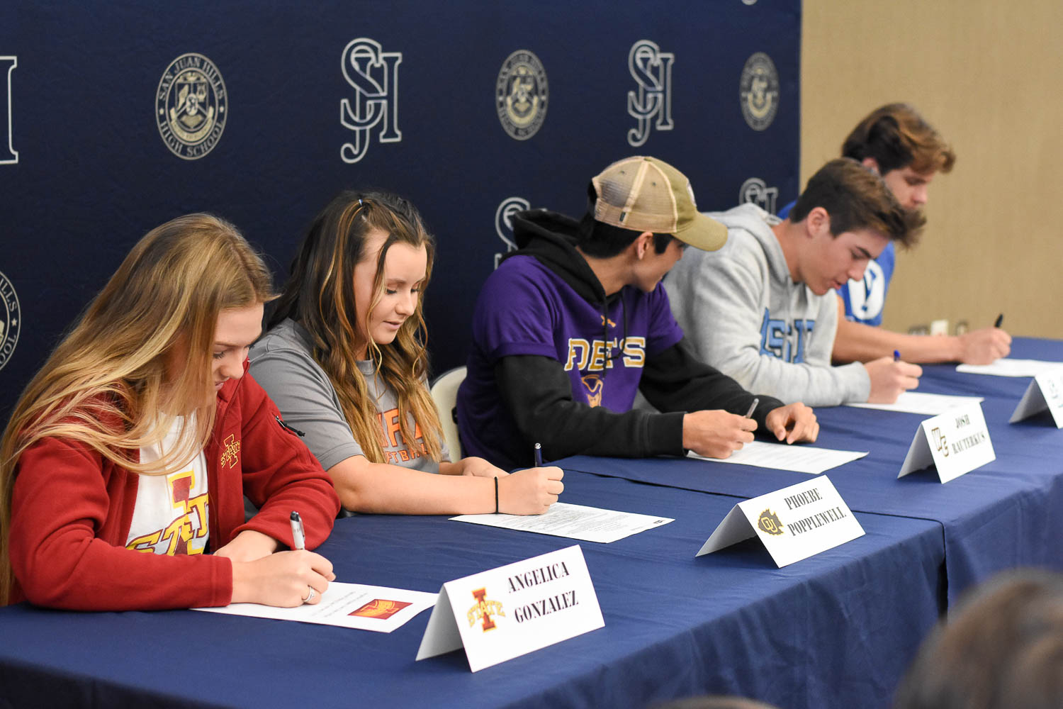 Five Seniors signed their National Letters of Intent on February 6 during tutorial. Cade Albright will be playing Football at Brigham Young University, and his teammate Carson Lewis will also be playing Football at the University of San Diego. Angelica Gonzalez will be playing Softball at Iowa State University, and her teammate, Phoebe Popplewell will be playing Softball at Ottawa University. Joshua Rauterkus signs his Letter of Intent to play Baseball at Whittier College.