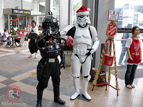 The 501st Legion is a charity group made up of Star Wars fans who focus on making accurate and realistic costumes of characters. They attend several charity events, and have partnered with the Make-A-Wish Foundation.