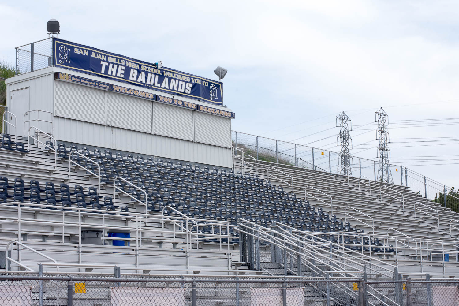 The bleachers that normally hold SJHHS' students at football games, will now be used to hold parents watching their children receive their diplomas.