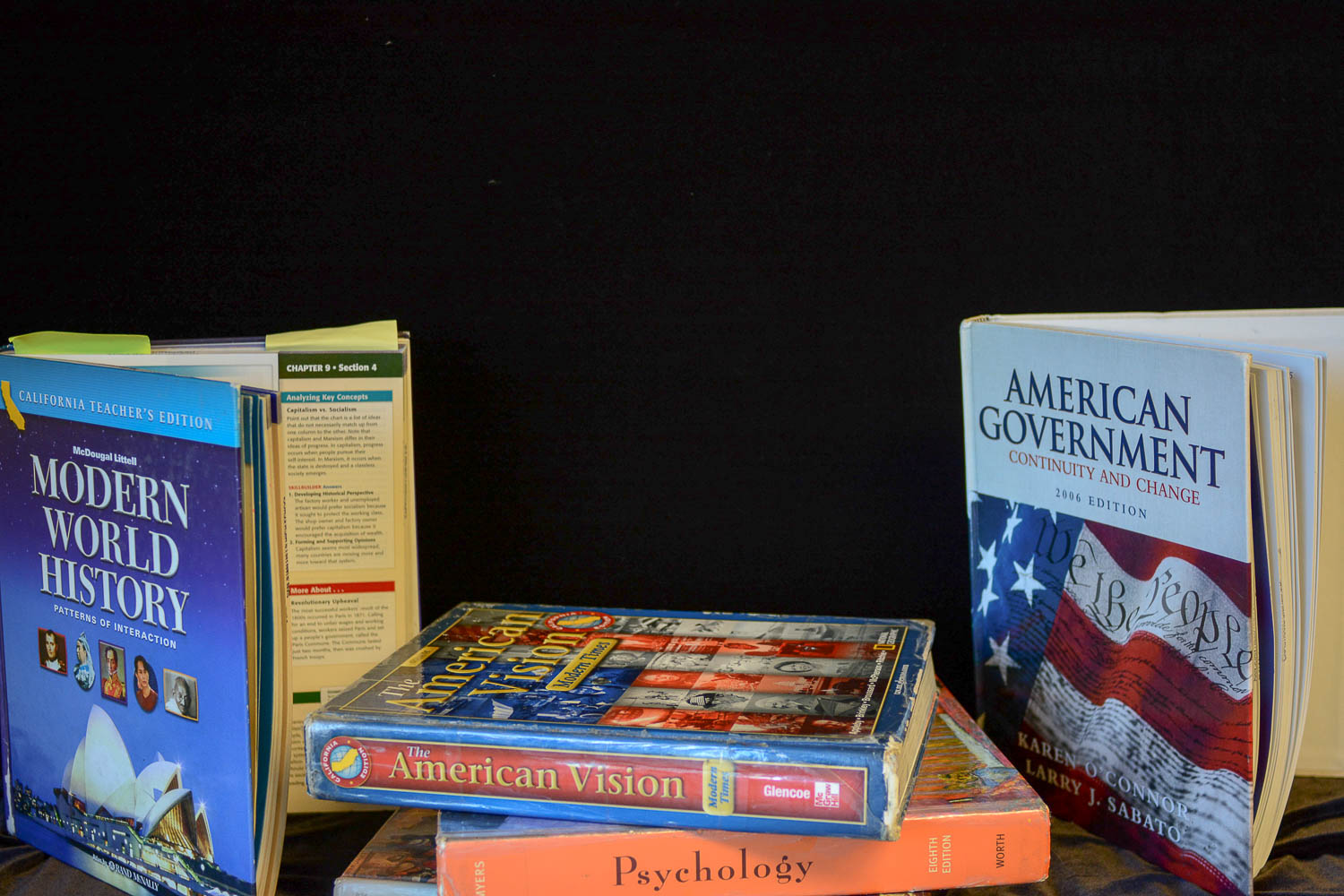 Many of the social studies textbboks, A.P. Government and Politics, World History, A.P. American History, A.P Physcology, and other social studies textbooks, haven't been updated to include more modern history. The most recent update to the history textbooks was in 2006.