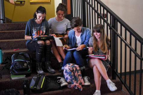 Drama students, Olivia Roselli(11), Madeline Halliburton(12), Grant Halliburton(11) and Lily Shaw(11), practice their lines before callbacks for She Kills Monsters.