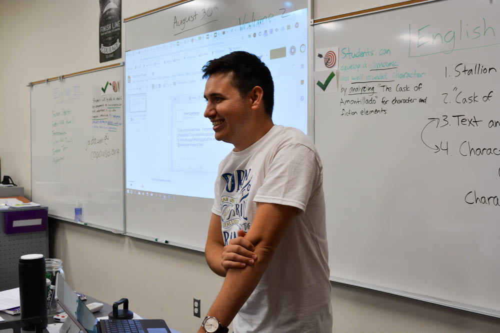 """Jayson Daum, a new teacher to SJHHS, teaches English I and III. His new curriculum, """"Authentic Assessment,"""" will be implemented later in the year."""