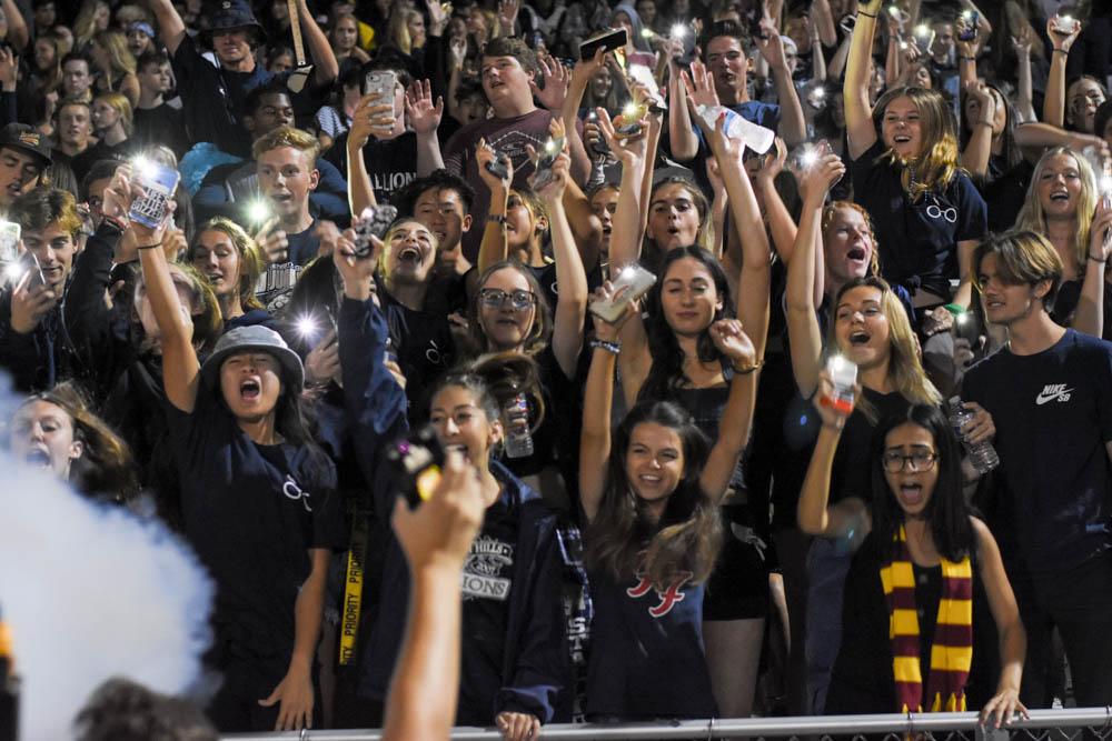 Student Section shows support for Stallions versus Great Oak during the Homecoming game.