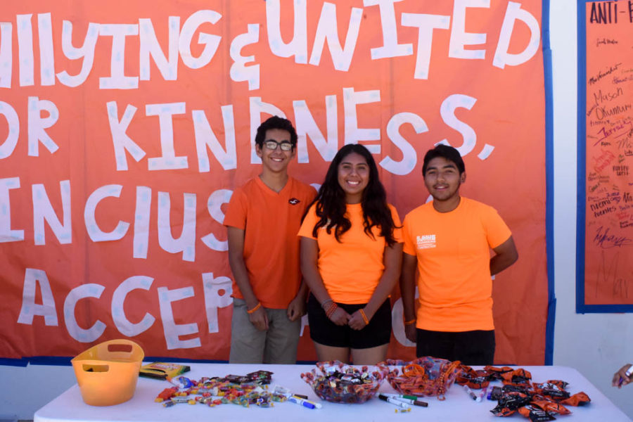 "Aaron Hernandez (12), Zayda Lozano (12), and Billy Castro Sainez (12) are are pictured above helping out with promoting anti-bullying and encouraging students to sign the anti-bullying petition. October is National Bullying Prevention Month and this year October 23 was designated as a Nationwide Unity Day with the theme, ""Together against bullying and united for kindness, inclusion and acceptance."" This year, ASB was in charge of making the posters, but the day was put together and supported by three main groups: ASB, Compassion Crew, a group of teachers and staff promoting kindness, and the Bridges Club. The purpose of Unity Day was to raise awareness about this issue, the groups found it important that we do not normalize bullying, and spread awareness. This day was an opportunity to bring the campus together and a reminder to continue being kind to one another and promote inclusion and acceptance. In the future, Kindness Week will take place in February and Mental Health Week will take place in April. The creators of Unity Day are excited to promote mental health and kindness even more and try their best to help make every student ""Stallion Strong""."