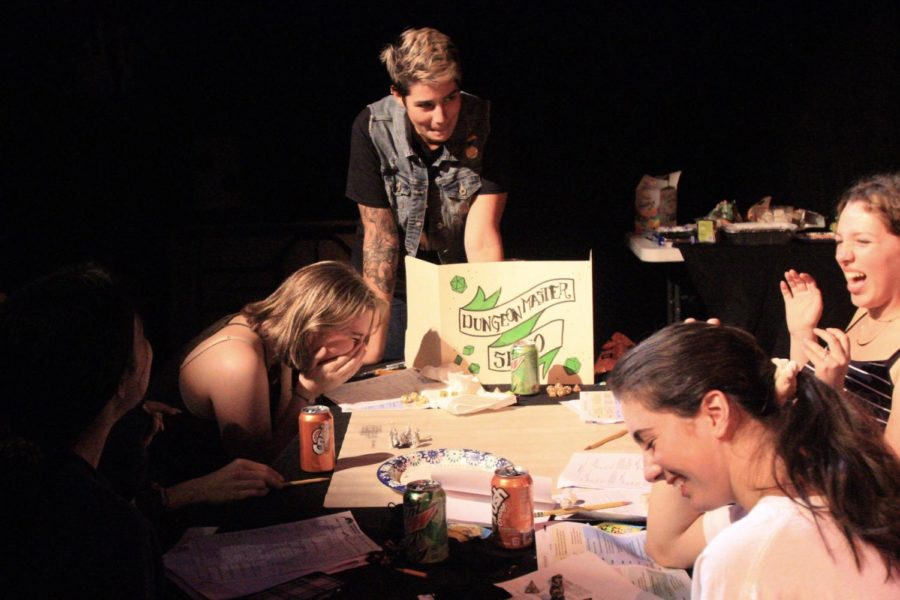 """Danielle Serio, along with the other members of the teacher Dungeons and Dragons group, and students of the """"She Kills Monsters"""" play production gathered together for a junk food filled evening of Dungeons & Dragons."""