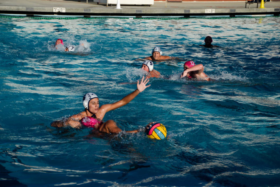 #15, Barni Szekely (9), races to score a goal in the varsity water polo match against El Toro on October 17. The team won with a score of 11-3.
