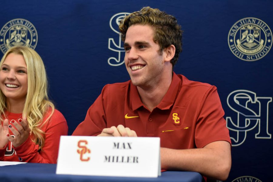 Max+Miller+%2812%29+smiles+wide+for+his+parents+after+just+signing+during+the+National+Letter+of+Intent+Ceremony.+He+will+be+attending+the+University+of+Southern+California%2C+where+he+will+play+water+polo.