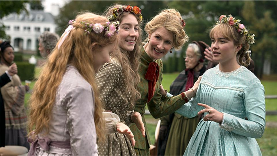 """Actresses, (from left to right) Eliza Scanlen, Saoirse Ronan, Laura Dern and Florence PughGreta Gerwig talk among themselves in the movie """"Little Women."""" Florence PughGreta Gerwig, playing Amy March, tells her mother and sisters that she was invited to travel to Europe with her aunt. Amy was picked out of all of the sisters because their aunt believed she was most likely to find a rich man to marry."""