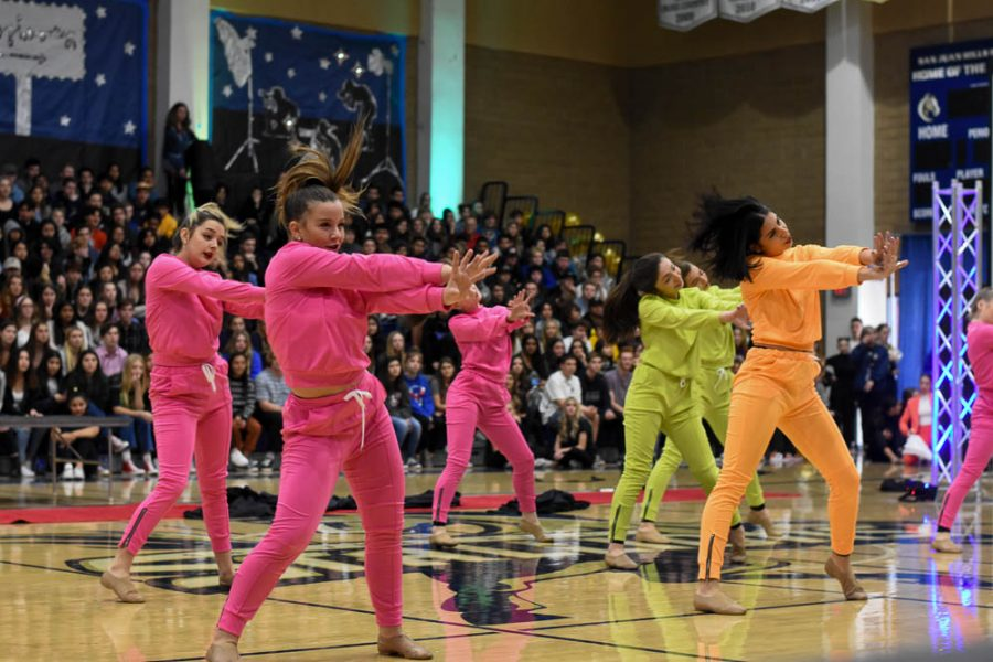 Jordan Apostolache and her teammates amaze the junior and senior sections during their final performance of the Grammy winter pep rally.