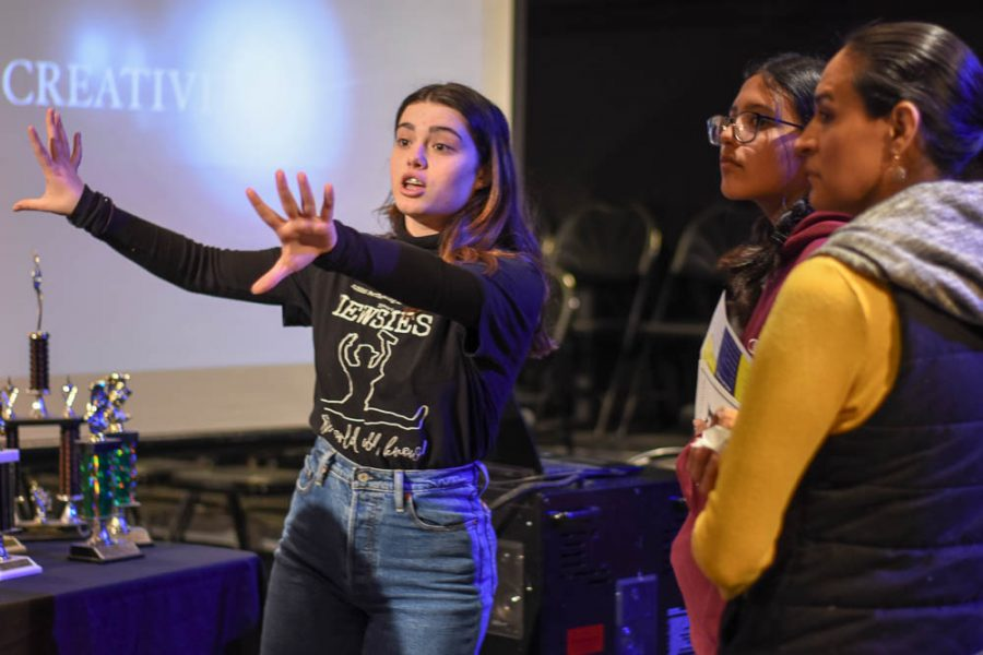 Alaina Arbiso (10) presents the features of the blackbox during a tour of the theater department. Future stallions were taken around the F building with their parents at Stallion Showcase to promote VAPA.