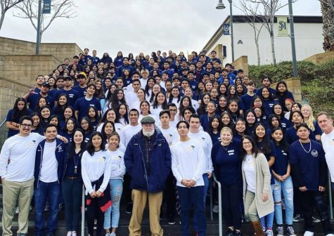 Class of 2019-2020 AVID students pose for group picture. This was taken prior to the pandemic, where AVID students still partook in on-campus learning.