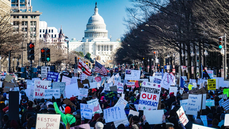 People gather around the White House in protest to Donald Trump during the 2020 Elections. This election had a record breaking voter turnout, with Black women at the front lines.